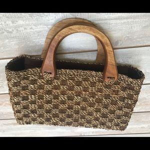 Handbags - Woven Earth Toned Handbag Satchel Ladies Tote Bag
